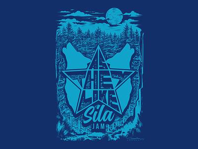 As They Like Sila Jam (2017) T-Shirt Illustration artwork illustration art woods mountains wolves pen and ink t-shirt silkscreen print ink illustration t-shirt illustration t-shirt design pen inks illustration