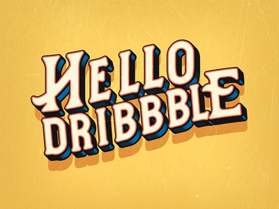 Hello Dribble in Vintage Style inking yellow comic style typhography bold pop art lettering vintage font oldschool retro vintage