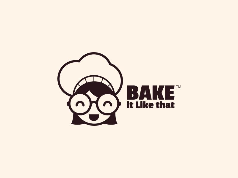 Bake it like that logo girl chef baking branding logo logo design brand identity