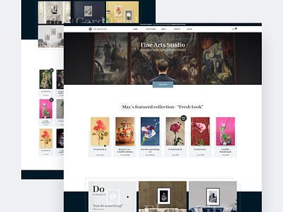 Fine arts studio paintings artwork online store studio art ui interface clean homepage modern web design ui  ux design design concept ui design