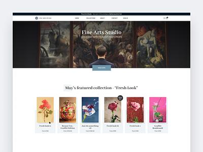 Fine arts studio artwork paintings photographs studio art ui interface clean homepage modern web design ui  ux design design concept ui design