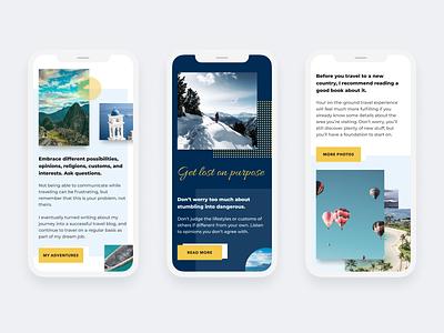 Travel guide blog website - Mobile blog travel responsive mobile ui interface clean homepage modern web design ui  ux design design concept ui design