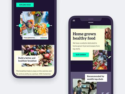 Home grown food website - Mobile healthyfood healthy mobile responsive ui interface clean homepage modern web design ui  ux design concept design ui design