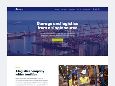Logistics company website interface logistics storage ui homepage web design modern ui  ux design concept design ui design