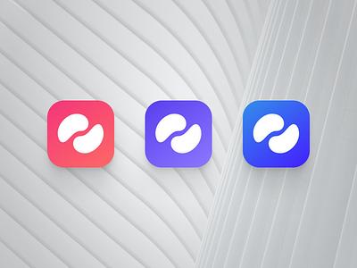 Logo for Double Beans kit system design blues purple red variation gradient logo ui