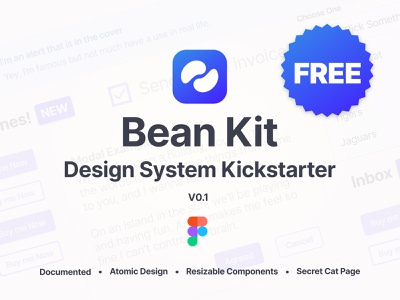Bean Kit - Free Design System Kickstarter Kit free kit design figma ui