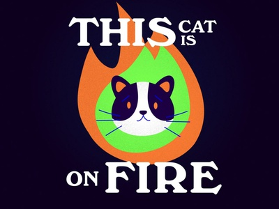 This Cat is on Fire • Illustration icon typography vector minimal flat illustration art design artist