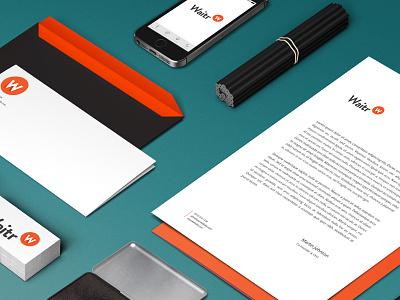 Wiatr app stationary logo design concept layout minimal app food list