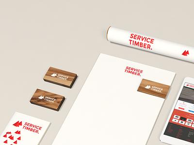 Timber Supplies timber service tree red logo branding