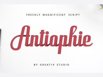 Antiophie | a bold and powerful script font advertising tittle poster logotype feminine cursive powerful bold script font