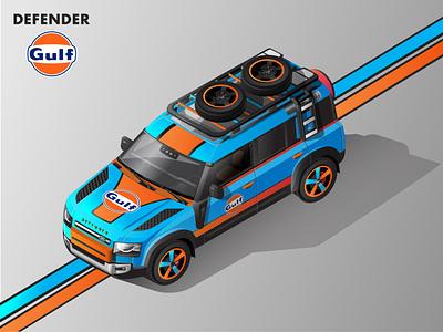 2020 Land Rover Defender Isometric Illustration - Gulf Livery adobe illustrator vector vector illustration land rover isometric illustration isometric automobiles isometric art illustration adobe illustration 2020 defender
