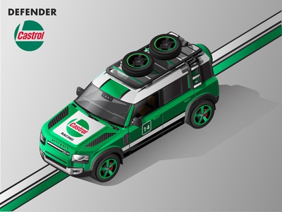 2020 Land Rover Defender Isometric Illustration - Castrol Livery vector vector illustration land rover car isometric automobiles isometric illustration illustration isometric art adobe illustration 2020 defender