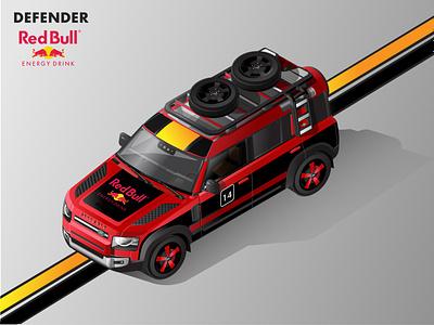 2020 Land Rover Defender Isometric Illustration - RedBull Livery land rover adobe illustrator vector illustration vector adobe illustration isometric automobiles isometric illustration isometric art illustration 2020 defender