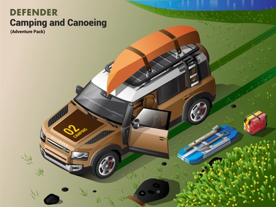 2020 Defender Isometric Illustration - Camping and Canoeing vector defender isometric illustration land rover vector illustration isometric automobiles isometric art illustration adobe illustration 2020 defender