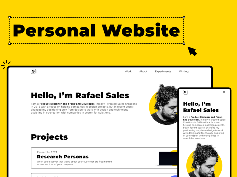 New Personal Website - desktop and mobile