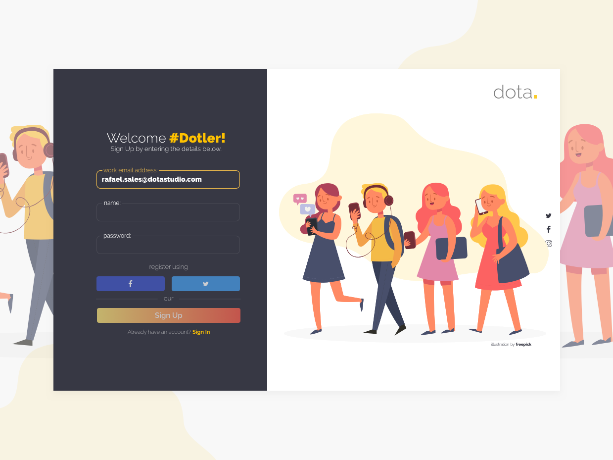 Daily UI 001 - Sign Up signup page dailyui dailyuichallange ui