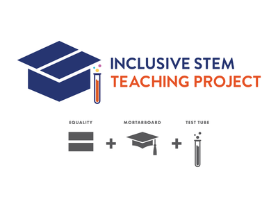Inclusive STEM Teaching Project logo design concept graphic design logo development logo design university test tube diversity engineering math science inclusive mortarboard branding concept branding and identity branding logo