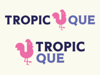 Tropic Que Logo Final tropical take out containers take out design graphic design flamingo purple blue pink chicken barbecue bbq restaurant restaurant branding restaurant logo branding design logo design logo branding