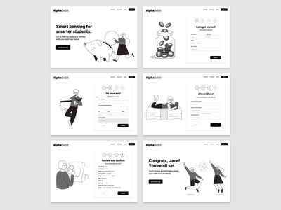 AlphaDebit Account Creation screens design exercise user designlab black and white figma web design form design form field form sign up form sign up bank banking user interface ui user experience design user experience