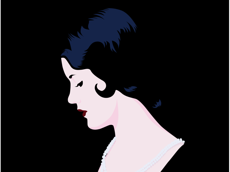 Lady in Pearls. vintage profile black woman illustrator illustration vector art vector