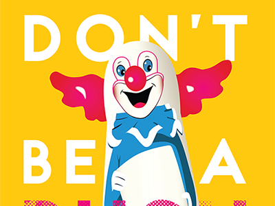 Don't Be A Pushover print design vector illustration vector pushover clown doll clown pink yellow