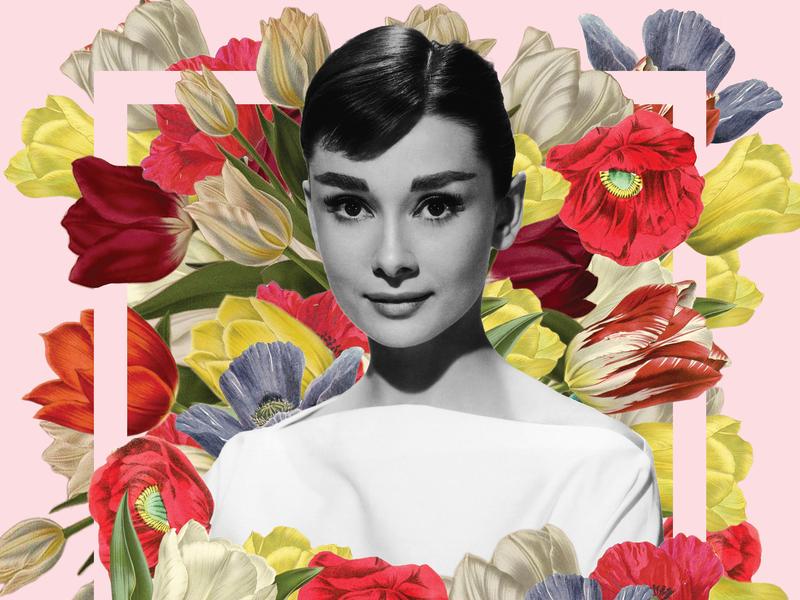 Audrey Hepburn design woman print poster purple yellow red pink photo montage photo composition photoshop flower floral audrey hepburn