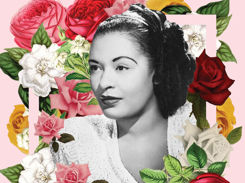Billie Holiday red pink yellow classic music feminist woman photo composition photo montage photoshop flower floral billie holiday