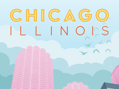 Chicago Travel Poster vintage yellow poster travel poster travel vector art green blue illustrator chicago pink vector vector illustration illustration