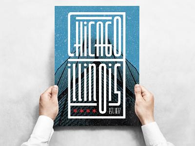 Chicago, Illinois illustrator design illustrator poster design poster art vector poster white blue red stars type modified type typographic poster typographic design typography art typography illinois chicago