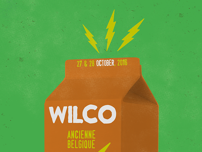 Wilco Milk Carton Amp europe bolts illustration design amplifier milk carton brussels music rock gig poster poster wilco