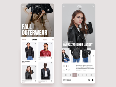 Zara Product Page neutral neutrals shopping app shop trendy trend nude brown ecommerce shop product design fall leather jacket leather fashion app fashion shopping zara ecommerce design ecommerce app ecommerce