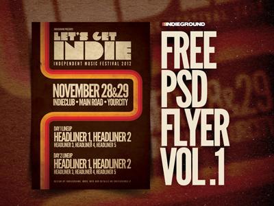 Freebie Flyer Vol. 1 psd photoshop poster flyer free freebie grunge indie festival template