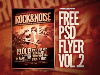 Freebie Flyer Vol. 2 psd photoshop poster flyer free freebie grunge indie festival template rock alternative