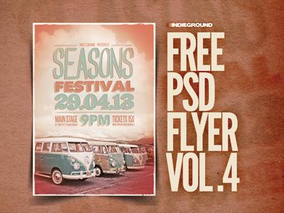 Freebie Flyer Vol. 4 alternative rock template festival indie seasons freebie free flyer poster photoshop psd woodstock hippie