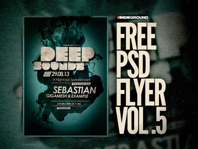Freebie Flyer Vol. 5 alternative minimal dubstep trance techno template festival indie grunge freebie free flyer poster photoshop psd ink dance