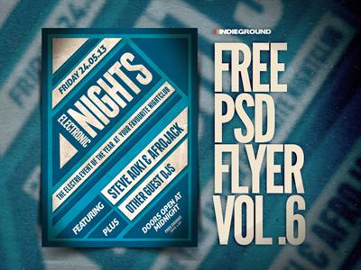 Freebie Flyer Vol. 6 dance geometric psd photoshop poster flyer free freebie grunge indie festival template techno trance dubstep minimal alternative