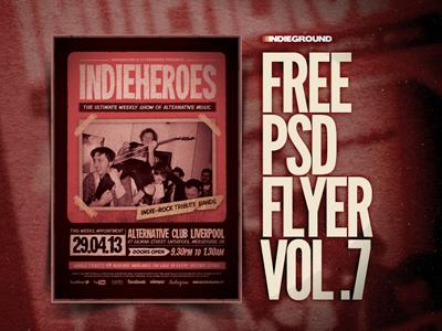 Freebie Flyer Vol. 7 gigposter template festival concert music freebie free flyer poster photoshop psd indie alternative vintage grunge polaroid