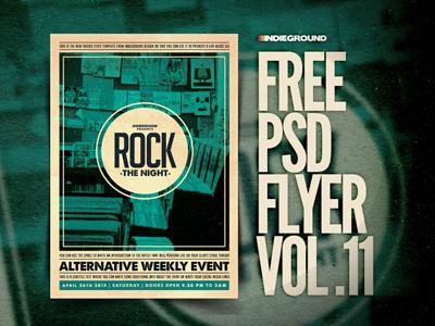 Freebie Flyer Vol. 11 gig template concert music freebie free flyer poster psd indie rock minimal