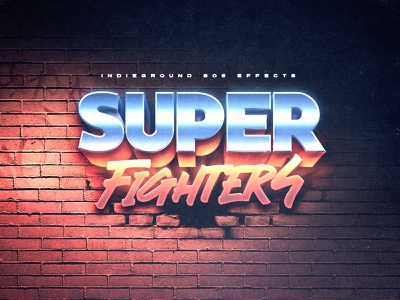 80s Photoshop Text Effect - No.23 bricks videogame street fighter typography synthwave futuristic vintage indieground retro logo mockup text effect 80s 1980s psd photoshop template