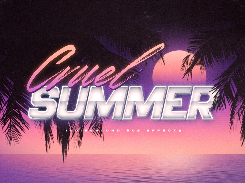 80s Photoshop Text Effect - No.28 template photoshop psd 1980s 80s text effect mockup logo retro indieground vintage futuristic synthwave typography summer sunset palms
