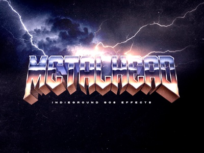 80s Photoshop Text Effect - No.29 storm lightning metallica chrome metal typography synthwave futuristic vintage indieground retro logo mockup text effect 80s 1980s psd photoshop template