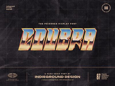 Coubra Free Font display logo vintage retro vaporwave retrowave synthwave rad typeface lettering type typography cobra kai chrome 1980s 80s fonts font free freebies