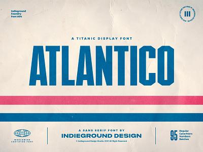 Atlantico Free Font font sans serif patriotic bubblegum blockbuster movies vhs geometric typeface webfont headline titles poster condensed freebie free display retro logo typography
