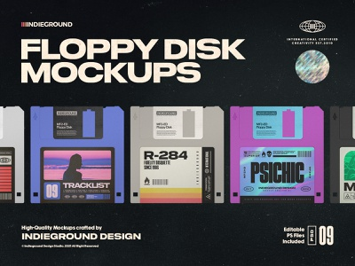 Floppy Disk Photoshop Mockups 80s gaming photorealistic aesthetics label hipster floppy disk floppy typography vintage retro photoshop template psd mockup