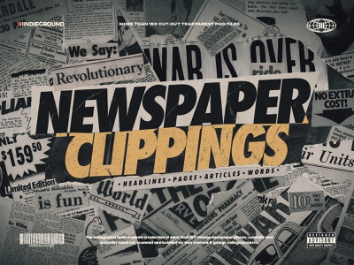 Newspaper Clippings PNG Images advertising type typography headline paper texture ripped torn grunge zine magazine newsprint png transparent background clippings cutouts collage newspaper retro vintage