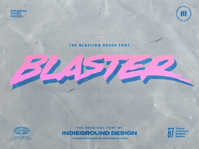 Blaster Free Font free fonts brush font daft punk 90s 80s street paint handmade handdrawn script display lettering handlettering type typography logo retro free font