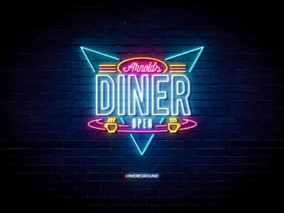 Neon Sign Effects for Photoshop - Arnold's Diner by Roberto