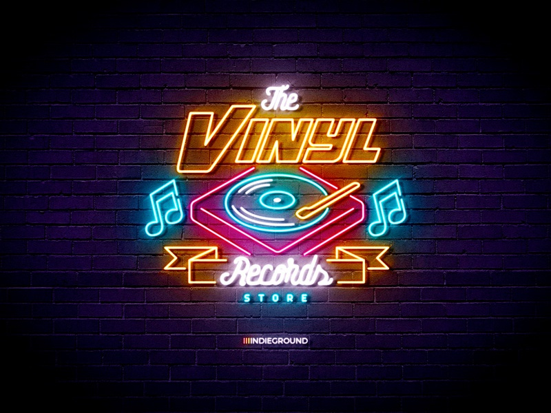 Neon Sign Effects For Photoshop Vinyl Records Store By