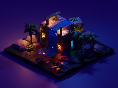 Haunted Ruins  - 3D Illustration / Creative Corner design story palms ruins haunted isometric diorama creative blender3d creativecorner polygonrunway storytelling illustration blender 3d art