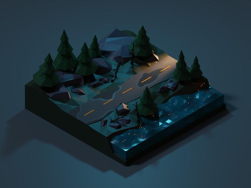 3D Illustration - Forest Road